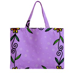 Hand Drawn Doodle Flower Border Zipper Mini Tote Bag by Nexatart