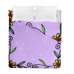Hand Drawn Doodle Flower Border Duvet Cover Double Side (full/ Double Size)