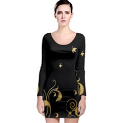 Golden Flowers And Leaves On A Black Background Long Sleeve Bodycon Dress by Nexatart
