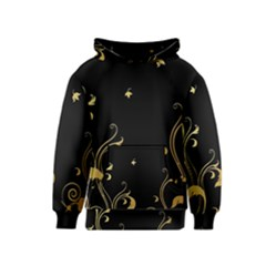 Golden Flowers And Leaves On A Black Background Kids  Pullover Hoodie