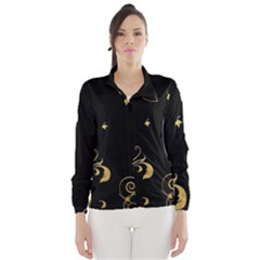 Golden Flowers And Leaves On A Black Background Wind Breaker (women) by Nexatart