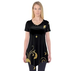 Golden Flowers And Leaves On A Black Background Short Sleeve Tunic
