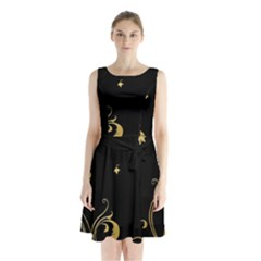 Golden Flowers And Leaves On A Black Background Sleeveless Chiffon Waist Tie Dress by Nexatart
