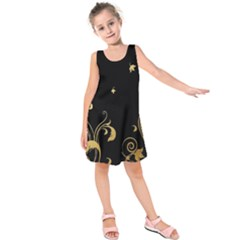 Golden Flowers And Leaves On A Black Background Kids  Sleeveless Dress by Nexatart