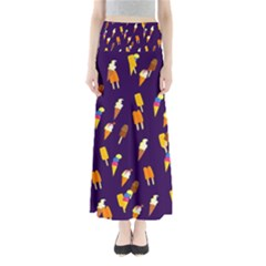 Seamless Cartoon Ice Cream And Lolly Pop Tilable Design Maxi Skirts