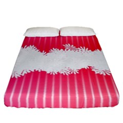 Digitally Designed Pink Stripe Background With Flowers And White Copyspace Fitted Sheet (queen Size) by Nexatart