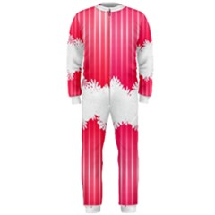 Digitally Designed Pink Stripe Background With Flowers And White Copyspace Onepiece Jumpsuit (men)