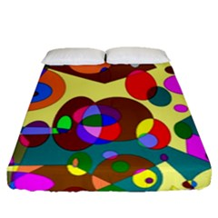 Abstract Digital Circle Computer Graphic Fitted Sheet (queen Size) by Nexatart