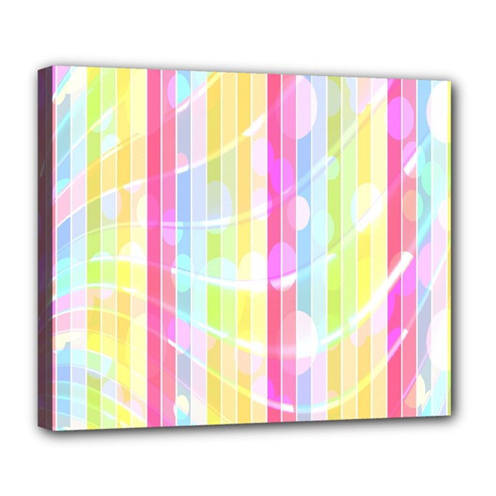 Abstract Stipes Colorful Background Circles And Waves Wallpaper Deluxe Canvas 24  x 20