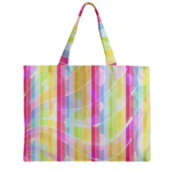 Abstract Stipes Colorful Background Circles And Waves Wallpaper Zipper Mini Tote Bag by Nexatart