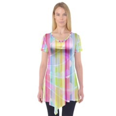 Abstract Stipes Colorful Background Circles And Waves Wallpaper Short Sleeve Tunic  by Nexatart