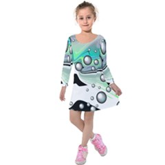Small And Big Bubbles Kids  Long Sleeve Velvet Dress by Nexatart