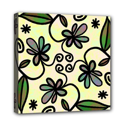 Completely Seamless Tileable Doodle Flower Art Mini Canvas 8  X 8