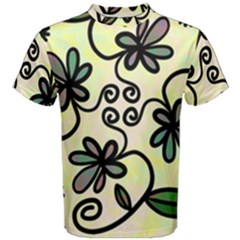 Completely Seamless Tileable Doodle Flower Art Men s Cotton Tee