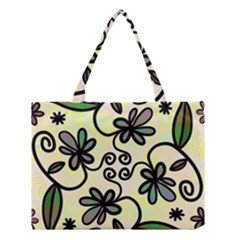 Completely Seamless Tileable Doodle Flower Art Medium Tote Bag by Nexatart
