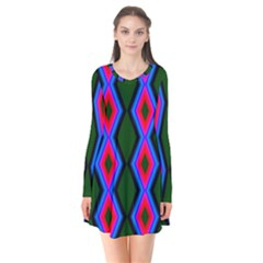Quadrate Repetition Abstract Pattern Flare Dress by Nexatart