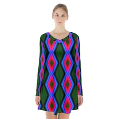 Quadrate Repetition Abstract Pattern Long Sleeve Velvet V Neck Dress
