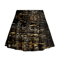 Wood Texture Dark Background Pattern Mini Flare Skirt
