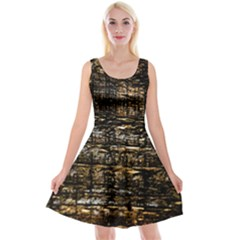 Wood Texture Dark Background Pattern Reversible Velvet Sleeveless Dress by Nexatart