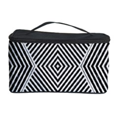 Black And White Line Abstract Cosmetic Storage Case by Nexatart