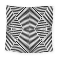 Black And White Line Abstract Square Tapestry (large) by Nexatart