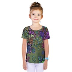Grunge Rose Background Pattern Kids  One Piece Tee