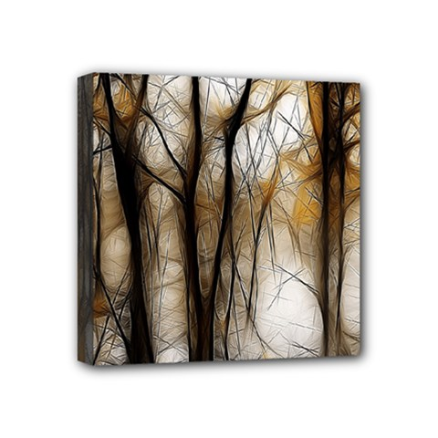 Fall Forest Artistic Background Mini Canvas 4  X 4  by Nexatart