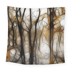 Fall Forest Artistic Background Square Tapestry (large) by Nexatart
