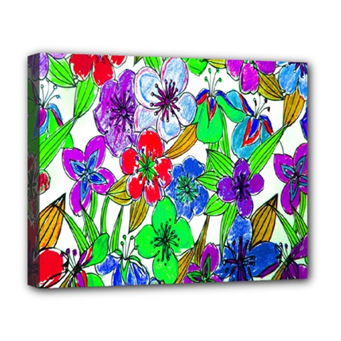 Background Of Hand Drawn Flowers With Green Hues Deluxe Canvas 20  X 16   by Nexatart
