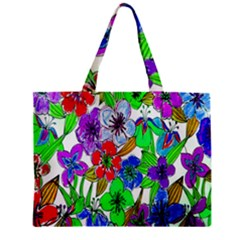 Background Of Hand Drawn Flowers With Green Hues Zipper Mini Tote Bag by Nexatart