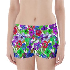 Background Of Hand Drawn Flowers With Green Hues Boyleg Bikini Wrap Bottoms