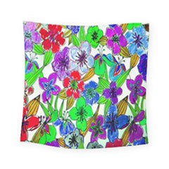 Background Of Hand Drawn Flowers With Green Hues Square Tapestry (small) by Nexatart