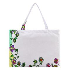 Floral Border Cartoon Flower Doodle Medium Tote Bag by Nexatart