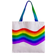 Watercolour Rainbow Colours Zipper Grocery Tote Bag by Nexatart