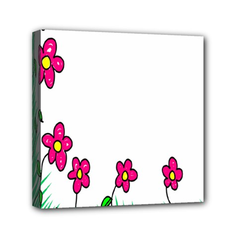 Floral Doodle Flower Border Cartoon Mini Canvas 6  X 6