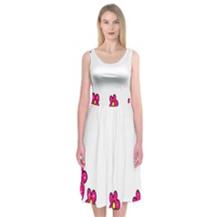 Floral Doodle Flower Border Cartoon Midi Sleeveless Dress by Nexatart