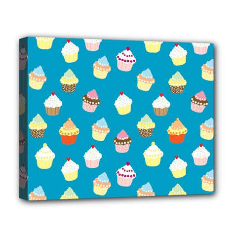 Cupcakes Pattern Deluxe Canvas 20  X 16   by Valentinaart