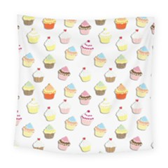Cupcakes Pattern Square Tapestry (large) by Valentinaart