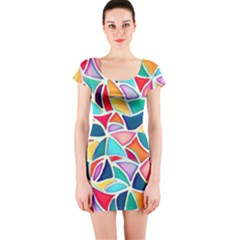 Colorful Abstract Painting  Short Sleeve Bodycon Dress