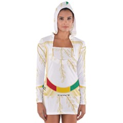 Coat Of Arms Of Republic Of Guinea  Women s Long Sleeve Hooded T Shirt