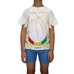 Coat Of Arms Of Republic Of Guinea  Kids  Short Sleeve Swimwear