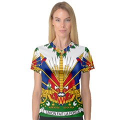 Coat Of Arms Of Haiti Women s V Neck Sport Mesh Tee by abbeyz71