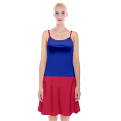 Civil Flag Of Haiti (without Coat Of Arms) Spaghetti Strap Velvet Dress by abbeyz71