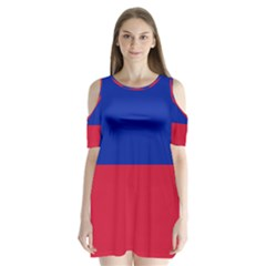 Civil Flag Of Haiti (without Coat Of Arms) Shoulder Cutout Velvet  One Piece by abbeyz71