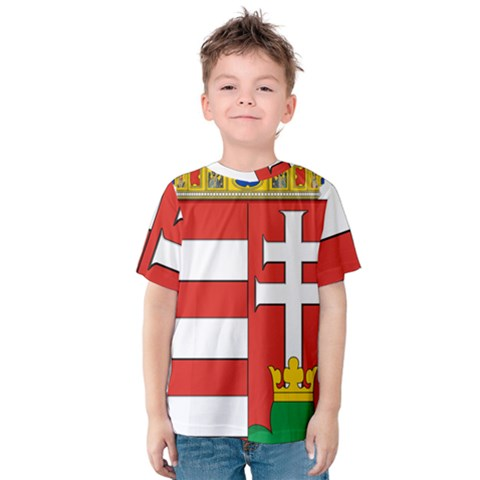 Medieval Coat Of Arms Of Hungary  Kids  Cotton Tee by abbeyz71