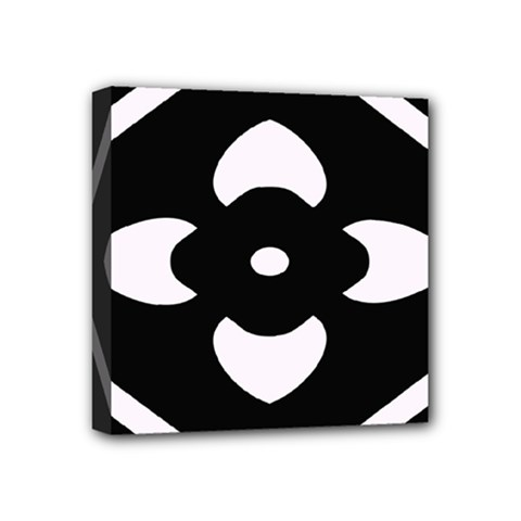 Black And White Pattern Background Mini Canvas 4  X 4
