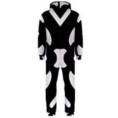 Black And White Pattern Background Hooded Jumpsuit (men)