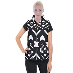 Black And White Pattern Background Women s Button Up Puffer Vest