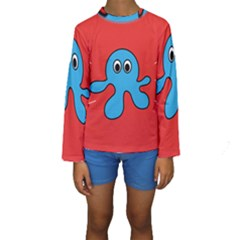 Creature Forms Funny Monster Comic Kids  Long Sleeve Swimwear by Nexatart