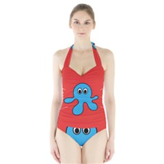Creature Forms Funny Monster Comic Halter Swimsuit
